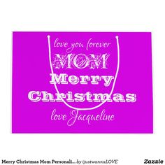 Merry Christmas Mom Personalized Girly Purple Large Gift Bag. created by artist RjFxx *All rights reserved. #zazzlemade #Mom'sChristmasGiftBag Merry Christmas Love, Christmas Items, Gift Wrapping Supplies, Gift Wrapping Paper, Personalized Gifts For Mom, Custom Gift Bags, Large Gift Bags, Christmas Gift Wrapping, Grandma Gifts
