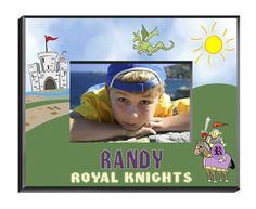 """Personalized  Children's Frames - Knight. Our personalized Children's Frames are perfect for your favorite picture. They make great room decorations and keepsakes. Frames measure 8"""" x 10"""" and hold a 4"""" x 6"""" photo. See individual frame for personalization.This item takes 3-4 business days to process before it ships === Christmas Shipping Cut Off (U.S. Only) === U.S. Std/Ground: Dec. 8th (11:59pm PST) === U.S. 2-Day Express: Dec. 13th (11:59pm PST)"""