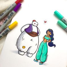 Demetria Skye is a self taught artist who has created a series of Baymax illustrations. She reimagines the popular cartoon as other famous Disney Disney Fan Art, Bmax Disney, Disney E Dreamworks, Heros Disney, Punk Disney, Disney Movies, Disney Character Drawings, Disney Drawings, Cartoon Drawings