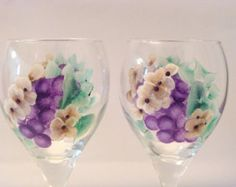Hand Painted Wine Glasses Grapes and Blossoms