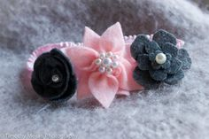 Elastic Headband with Flowers - Pink and Gray - Pearls - Ruffle band on Etsy, $4.00 CAD