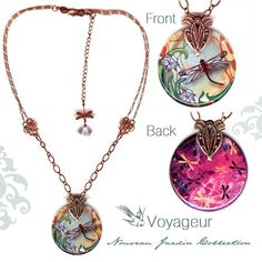 Dragonfly Necklace  Reversible Glass Art  Voyageur  by tzaddishop, $33.00