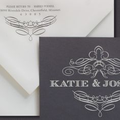 Our Pewter invitation is shown in detail here engraved in oyster ink on charcoal paper.