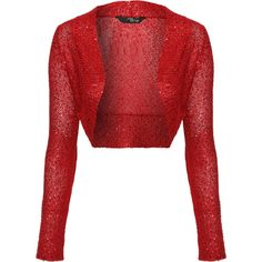 Jane Norman Sequin Shrug ($26) ❤ liked on Polyvore featuring outerwear, jackets, red, shrug, sweaters, tops, cropped shrug, jane norman, red shrug cardigan e shrug cardigan