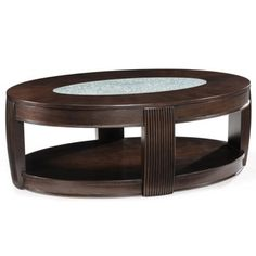 'Ino' Wood and Glass Oval Cocktail Table   Overstock.com Shopping - Great Deals on Magnussen Home Furnishings Coffee, Sofa & End Tables