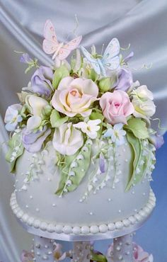 Lovely flowers and butterflies cake.