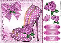 Pretty pink polka dot shoes with roses and bow 8x8 on Craftsuprint - Add To Basket!