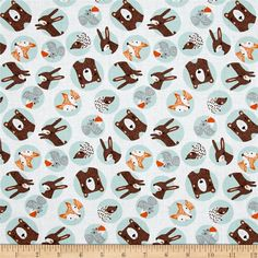 Forest Friends Animal Portraits Turquoise from @fabricdotcom  From Fabric Editions, this cotton print fabric combines large polka dots with your favorite forest animals for an adorable take on the forest! Perfect for quilting, apparel and home decor accents. Colors include white, blue, shades of orange, black, brown, grey and pink.