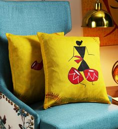 Buy Yellow Art Silk 16 x 16 Inch Handpainted Worli Cushion Cover - Set of 2 by RangDesi Online - Ethnic Motif Cushion Covers - Cushion Covers - Carpets & Furnishing - Pepperfry Product : Diy Cushion Covers, Cushion Cover Designs, Pillow Cover Design, Traditional Cushions, Diy Pillow Chair, Diy Pillows, Fabric Painting On Clothes, Worli Painting, Dorm Rooms