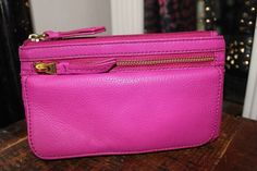 Fossil Leather Wallet Womens Hot Pink Fuchsia #FossilBrand #Clutch