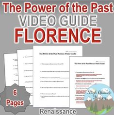 Power of the Past Florence Original Video Guide Modern World History, European History, Renaissance And Reformation, Unit Plan, Italian Renaissance, Graphic Organizers, Florence, The Past, Students