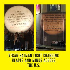 "The words Vegan Batman Light may sound like something out of sci fi, but it's 100 percent real — and 100 percent radical. ""The first time it was done on the pig slaughterhouse in L.A. and boy was that moment eventful,"" says Spence. ""The light could be seen over their courtyard fence inside the slaughterhouse. The police that come each night walked up and said 'WOW, that is a game changer and lets everyone know how serious you guys are.' I have now been doing the light three to five times a…"