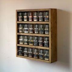 12 Piece Hanging Spice Rack-Silver   Etsy Hanging Spice Rack, Spice Storage, Utensil Storage, Spice Shelf, Storage Ideas, Wood Pallets, Pallet Wood, Kitchen, Jars