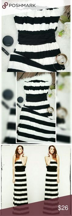ENDS SUNDAY!  Black n White stripped Maxi Supper soft, jersey like fabric Maxi Strapless  Lenght can be adjusted under the bust, around the thicker black strippe Dresses Maxi