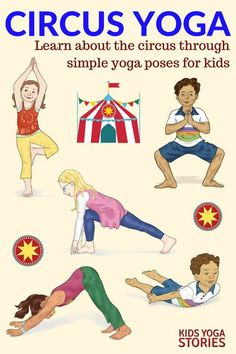 Circus Yoga Poses for Kids Printable Poster 5 Circus Yoga Poses for Kids 6 Circus Books for Kids Kids Yoga Circus Yoga Poses for Kids 6 Circus Books for Kids. Circus Activities, Gross Motor Activities, Preschool Activities, Circus Theme Crafts, Circus Crafts Preschool, Circus Theme Classroom, Kids Yoga Poses, Yoga For Kids, Book Of Circus