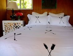 Arrow Duvet Set Hand Screen Printed Full/ Queen - Modern Bedding- Arrow- Bed Cover- Linens- Bedding