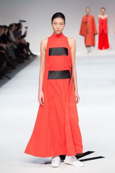 FINAL LOOK designed by Tsang Fan Yu, The EcoChic Design Award 2015/16 finalist – Up-cycled full-length red dress with oversized ribbons made from industry surplus & damaged textiles #ECDA #TsangFanYu