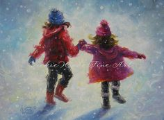 Snow Sisters Art Print two sisters holding by VickieWadeFineArt