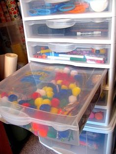 Great Containers Instead Of Drawers To Keep The Kid Craft Stuff Contained.  IHeart Organizing:
