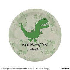 T-Rex Tyrannosaurus Rex Dinosaur Cartoon Kids Boys 7 Inch Paper Plate