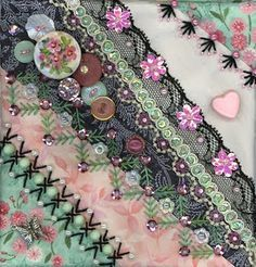 Ideas Crazy Patchwork Clothing Ribbon Embroidery The particular Fall/Winter style Crazy Quilt Stitches, Crazy Quilt Blocks, Patch Quilt, Crazy Quilting, Silk Ribbon Embroidery, Embroidery Stitches, Hand Embroidery, Embroidery Designs, Embroidery Supplies
