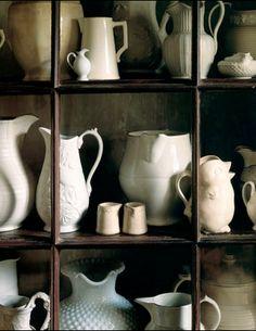 white ceramic pitchers