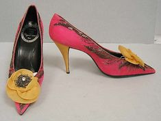 Dior Shoes - 1957 - House of Dior (French, founded 1947) - Design by Roger Vivier (French, 1913-1998) - Silk, leather, silver thread - @~ Mlle