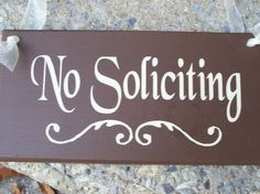 No Soliciting Wood Vinyl Sign Home Decor Brown Door Hanger