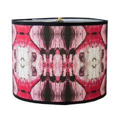 Drum handmade lampshade red and pink fabric by Gingerartlamps