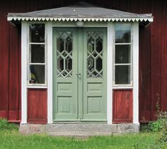 Photo by Torgil Jarnling Swedish Cottage, Cozy Cottage, Old Doors, Windows And Doors, Sweden House, Porches, Red Houses, This Old House, Scandinavian Home