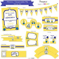 Minions Party Printables - Deluxe Set by SweetSnazzy on Etsy.  Feel free to visit us at www.facebook.com/sweetandsnazzy