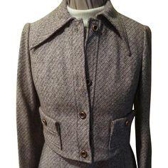 Brown Tweed Turtleneck Dress with Jacket