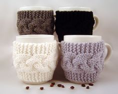 4 Hand Knit Coffee Mug Cozy Your Choice Of Colors. $40.00, via Etsy.