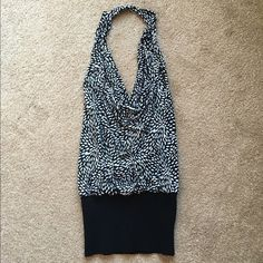 Forever Halter Top Open back halter top, size L.  The bottom ribbed band is very stretchy material.  Material is 90% Polyester, 10% Spandex.  Worn a few times, but still in very good condition!  No trades. Bundle to save! Forever Tops Tank Tops