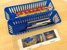 Sorting pencils and pens work task box