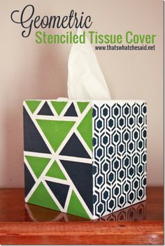Geometric Stenciled Tissue Cover at thatswhatchesaid.net  #craftmonthlove #paint #stencil