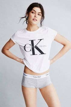 Logo lover. Style a classic Calvin Klein Jeans tee with the Modern Cotton boy shorts from Calvin Klein Underwear for the ultimate lounge look. #mycalvins