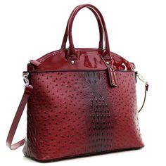 Dasein® Ostrich Faux Leather Large Satchel with Patent Trim - Red