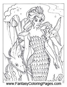 pretty mermaids coloring pages - photo#48