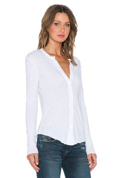 James Perse Linen Jersey Button Up in White