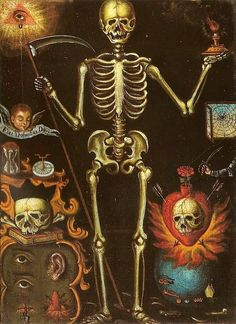 """Cited as """"Polyptych of Death, preserved at the Museo Nacional del Virreinato (National Museum of Viceroyalty), Tepotzotlán, Mexico. Altar, San Francisco Javier, Colonial Art, Spanish Colonial, Dance Of Death, The Good Witch, Danse Macabre, Religious Images, Religious Art"""