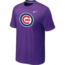 Wholesale Men Chicago Cubs Heathered Blended Short Sleeve Purple T-Shirt_Chicago Cubs T-Shirt