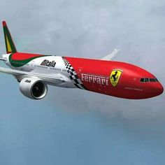 Italian - Boeing - Altilalia Airlines – Ferrari Paint Scheme - Aircraft - Aircraft art - A Boeing 777, Airplane Photography, Passenger Aircraft, Aircraft Painting, Air Festival, Airplane Art, Ferrari Car, Commercial Aircraft, Aircraft Design