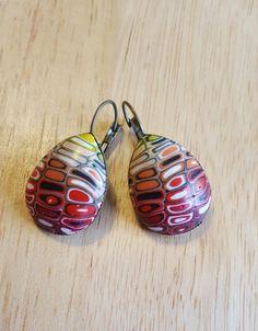 Colorful abstract earrings, red earrings, light earrings, unique earrings, Valentines gift, abstract earrings, Easter gift, birthday gift,