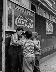 Photo by Fred Stein, Brooklyn Boys, New York, 1946. (please follow minkshmink on pinterest) #brooklyn #cocacolasign