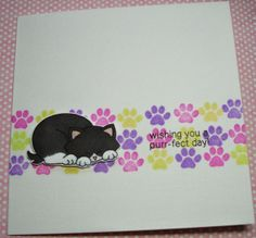 Simply Dotty Pudding: A cute cat card.
