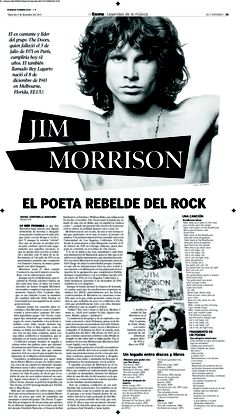 Editorial Design 2004-2013 Diana Gonzalez / dianagonzi Diario El Universo Music / Jim Morrison The Doors Magazines, covers, newspapers