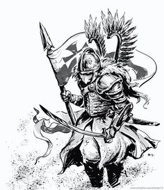 The Polish Hussars or Winged Hussars, were one of the main types of the calvary in Poland and in the Polish-Lithuanian Commonwealth between the and centuries. Slavic Tattoo, Poland Tattoo, Character Art, Character Design, Patriotic Tattoos, Age Of Empires, Fantasy Armor, Symbolic Tattoos, Sleeve Tattoos