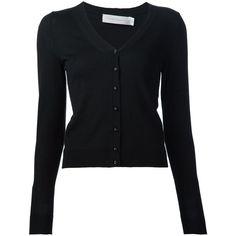 Victoria Beckham V-neck cardigan ($1,945) ❤ liked on Polyvore featuring tops, cardigans, black, v neck cardigan, v-neck tops, v-neck cardigan, v neck tops and cashmere cardigan