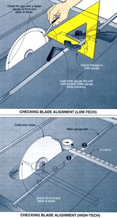 Check the blade for alignment with miter slots.